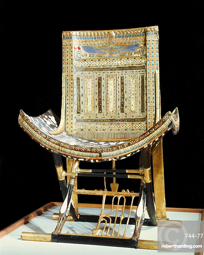 The ecclesiastical throne, from the tomb of the pharaoh Tutankhamun, discovered in the Valley of the Kings, Thebes, Egypt, North Africa, Africa