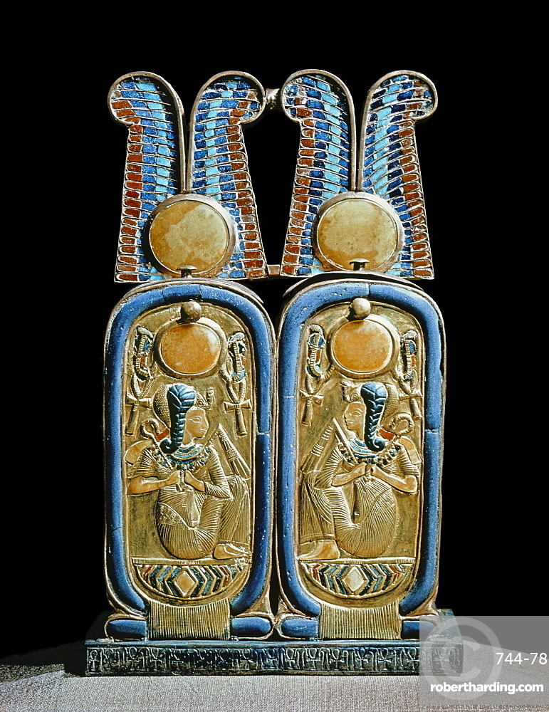 Unguent box in the shape of a double cartouche, from the tomb of the pharaoh Tutankhamun, discovered in the Valley of the Kings, Thebes, Egypt, North Africa, Africa