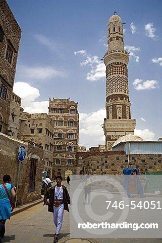 Minaret, Old Sana'a, Yemen, Middle East