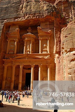 The Treasury or Al-Khazneh, Entrance of Petra, Petra, Jordan, Middle East