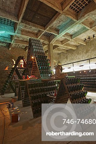 Bosca underground wine cathedral in Canelli, artistic composition named