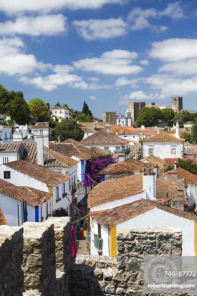 View of the fortified city of Obidos originated in an early Roman settlement, Oeste, Leiria District, Portugal, Europe