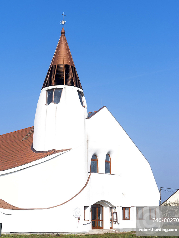 The Hortobagy church in typical hungarian architecture. Hortobagy is a small settlement and center of the Horotbagy National Park in the hungarian Puszta, which is listed as UNESCO world heritage. Europe, Eastern Europe, Hungary, November