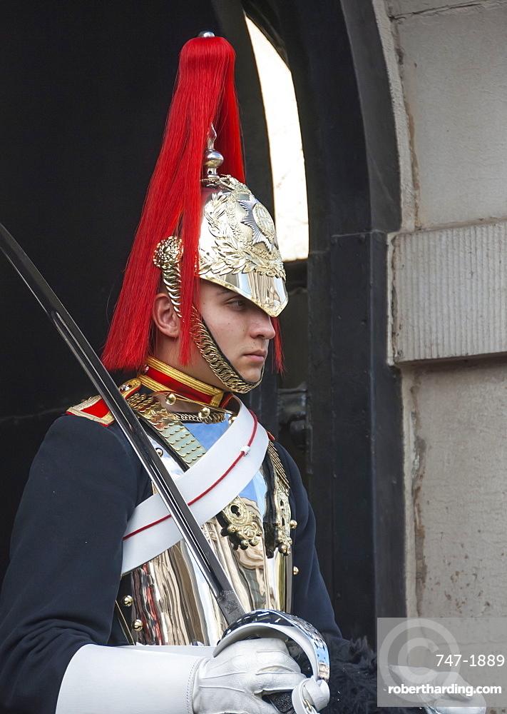Mounted Guardsman in Whitehall, London, England, United Kingdom, Europe