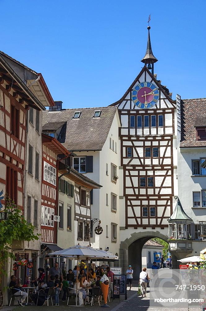 Traditional architecture, mural, Gate Tower and clock, Street scene, Stein am Rhein, Schaffhausen, Switzerland, Europe