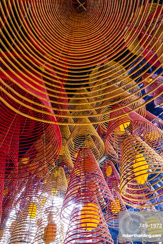 Spiral incense sticks at Ong Temple, Can Tho, Mekong Delta, Vietnam, Indochina, Southeast Asia, Asia