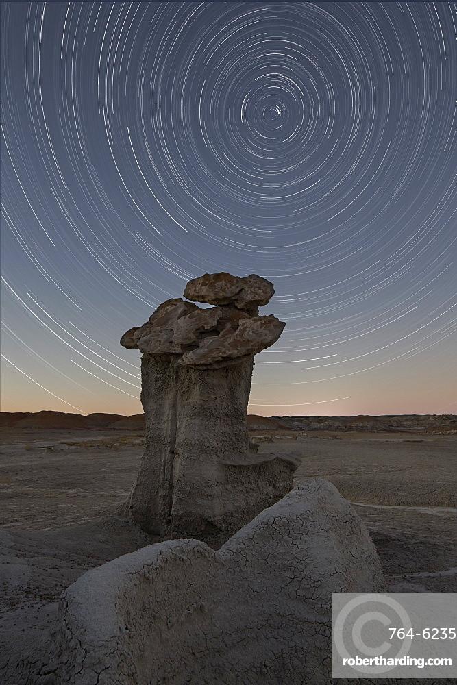 Hoodoo under the stars, Bisti Wilderness, New Mexico, United States of America, North America
