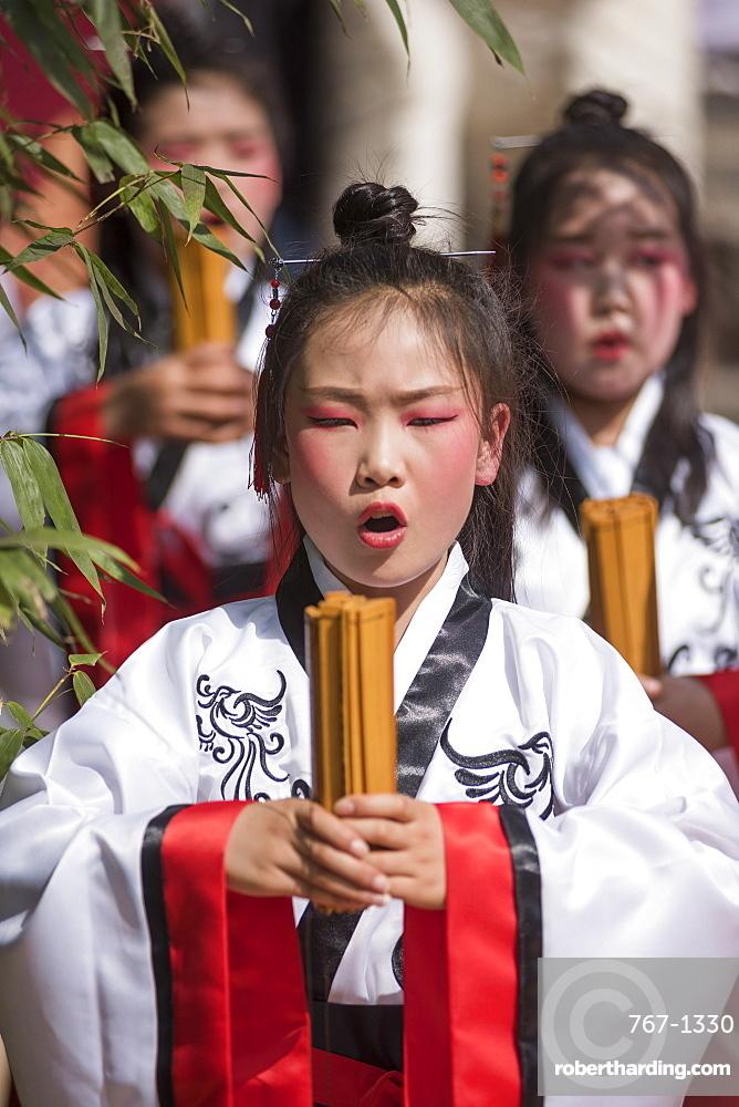Zhangqian Memorial Hall, ceremony offering sacrifices to Zhangqian, Chenggu, Shaanxi Province, China, Asia