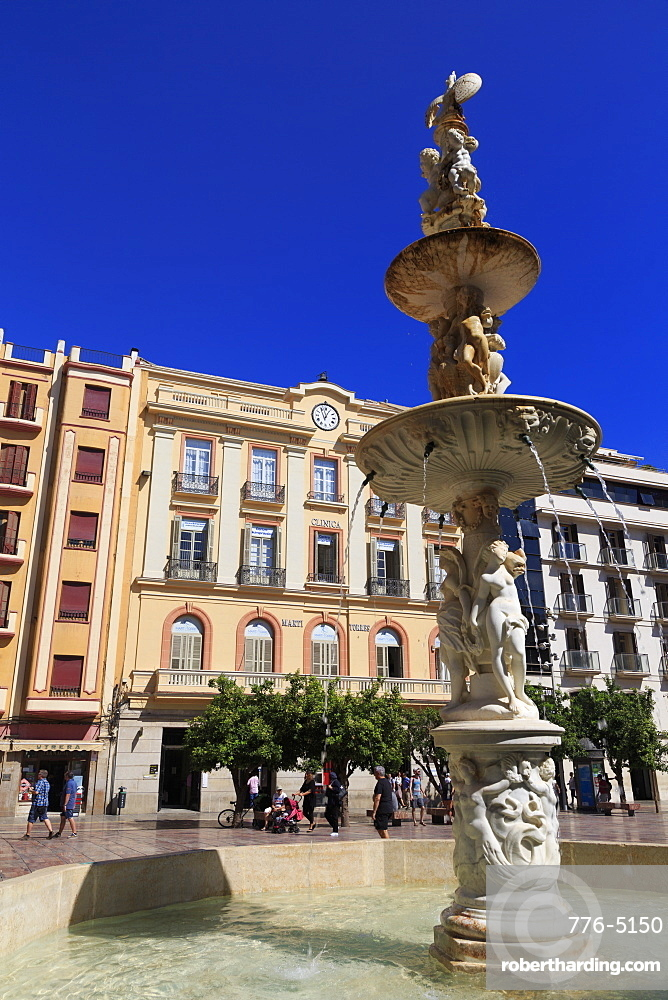 Fountain, Constitution Square, Malaga, Andalusia, Spain, Europe