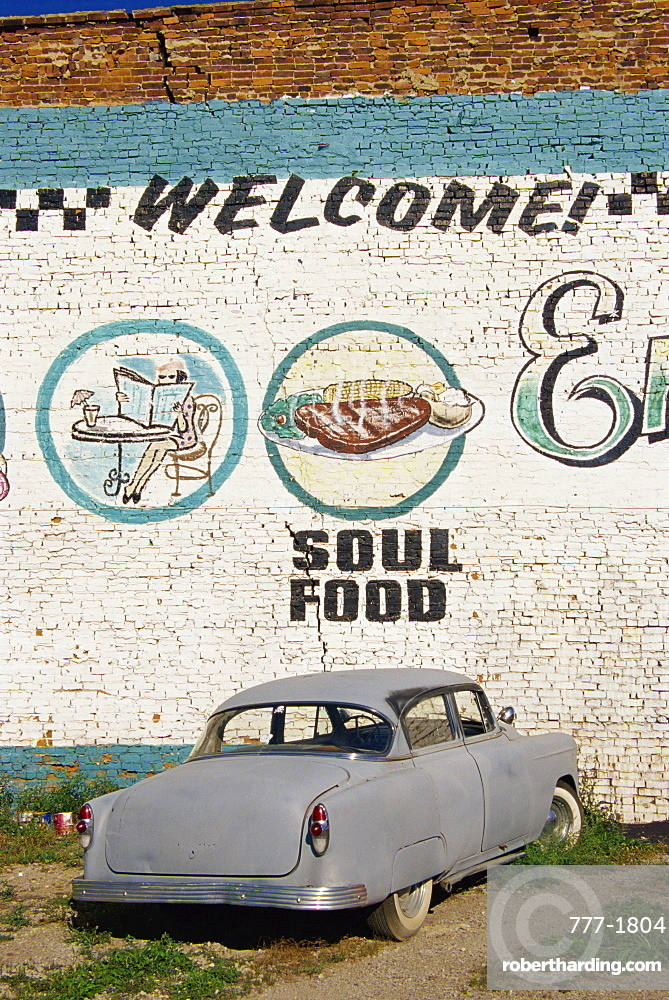 Detail of mural, Classic Ville car wash and cafe, Meldrum Street, Rivertown area, Detroit, Michigan, United States of America, North America