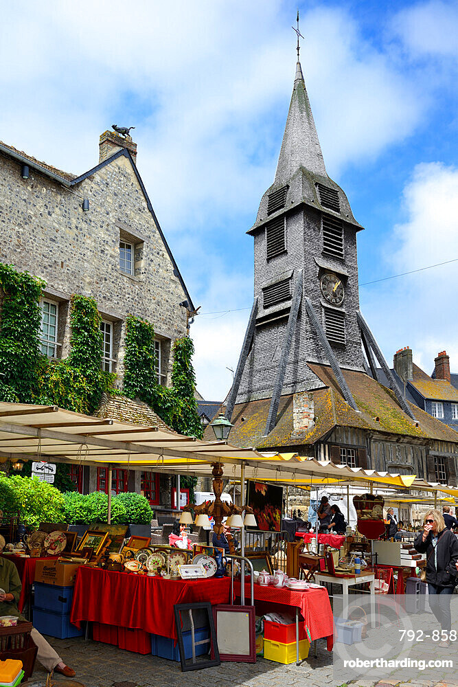 Flea Market, Brocante, Place St Catherine, Honfleur, Calvados, Basse Normandie, Normandy, France, Europe