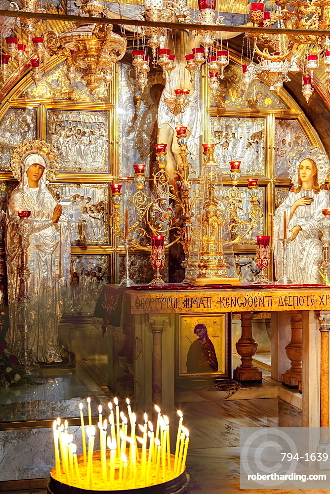 Golgotha, site of the Crucifixion, Church of the Holy Sepulchre, Old City, UNESCO World Heritage Site, Jerusalem, Israel, Middle East