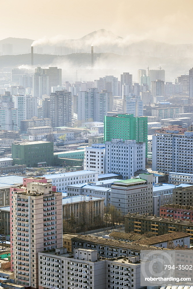 City skyline and pollution from coal fired power plants, Pyongyang, Democratic People's Republic of Korea (DPRK), North Korea, Asia