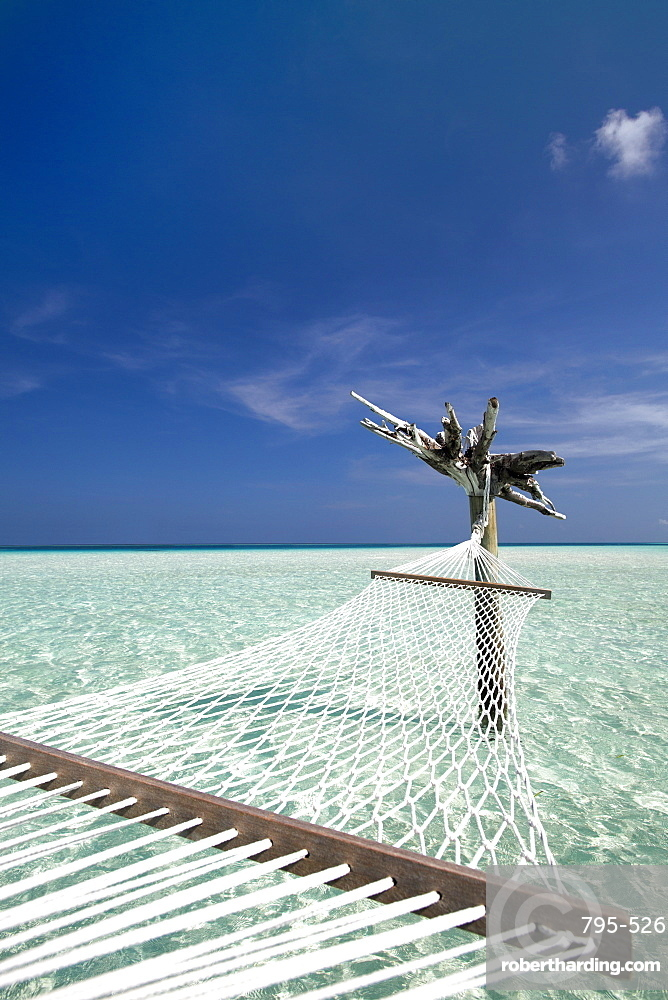 Hammock in tropical lagoon, Maldives, Indian Ocean, Asia