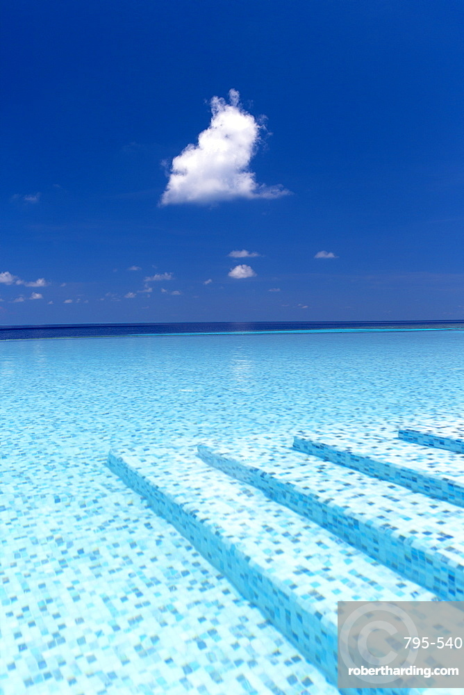 Infinity pool in the Maldives, Indian Ocean, Asia