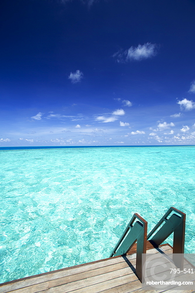 Stairs to the ocean , Maldives, Indian Ocean, Asia