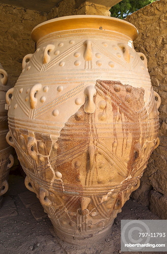 Greece, Crete, Knossos, A Pithos, large storage jar, in The Magazines of The Giants, Knossos Palace.