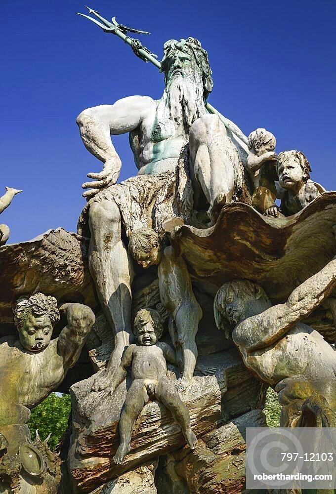 Germany Berlin Neptunebrunnen Fountain Stock Photo