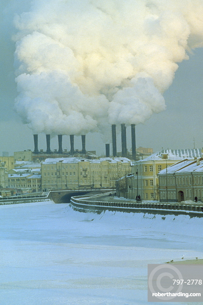 RUSSIA  Moscow Industrial chimneys emitting thick smoke over Moscow in snow. Air pollution