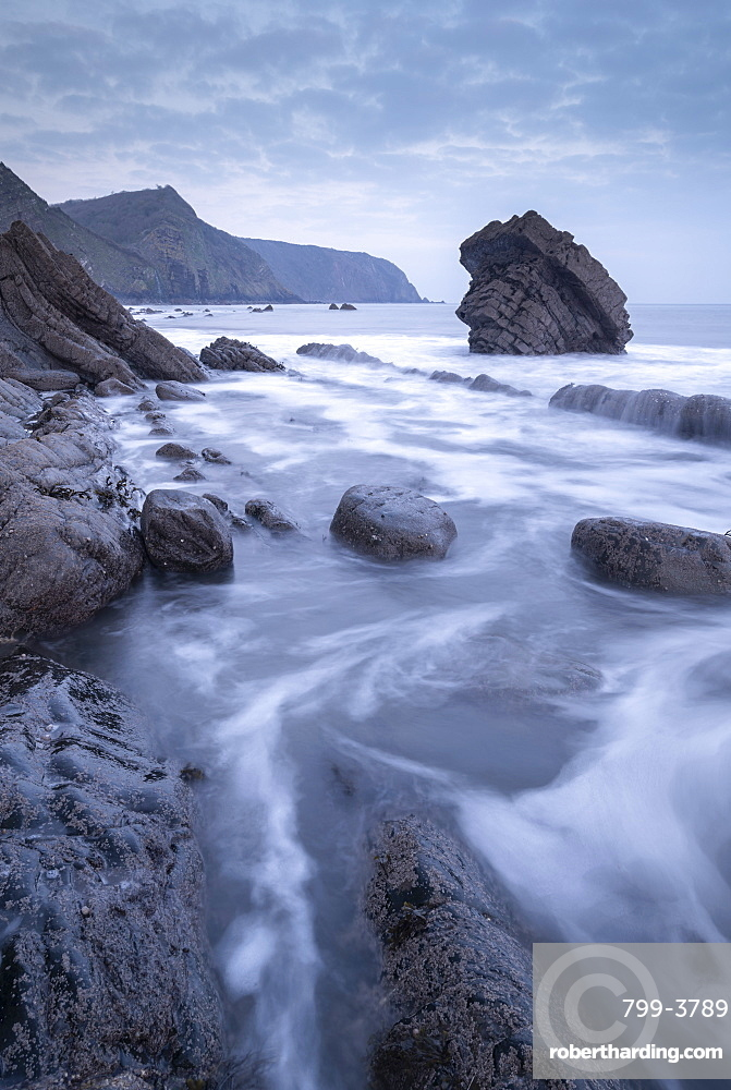 Atmospheric morning on the rocky coastline of North Devon, England, United Kingdom, Europe