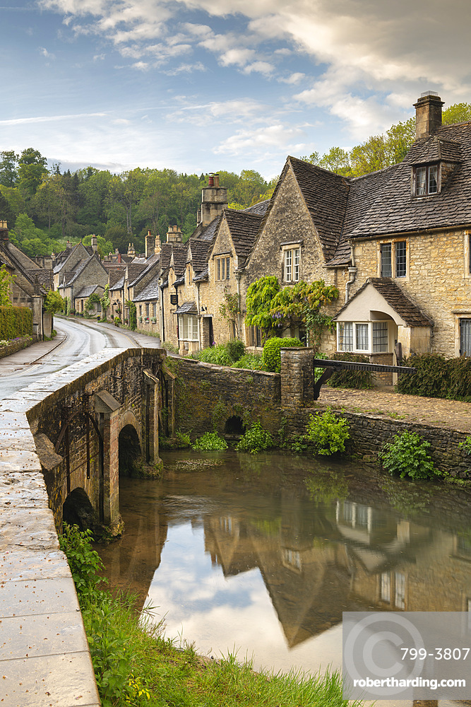 Picture postcard Cotswolds village of Castle Combe, Wiltshire, England. Spring (May) 2019.