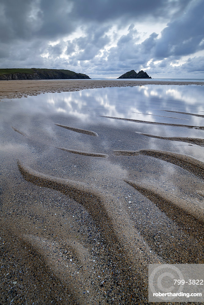 Sand patterns on the beach at Holywell Bay, Cornwall, England. Summer (June) 2019.