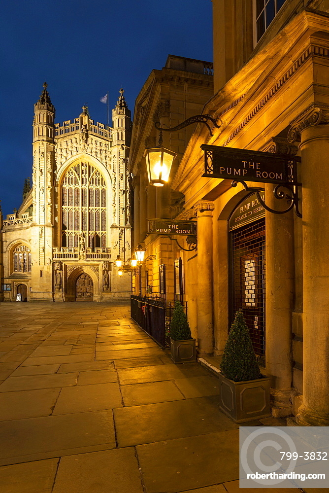 The Pump Room restaurant and Bath Abbey in Bath city centre, Somerset, England. Summer (June) 2019.