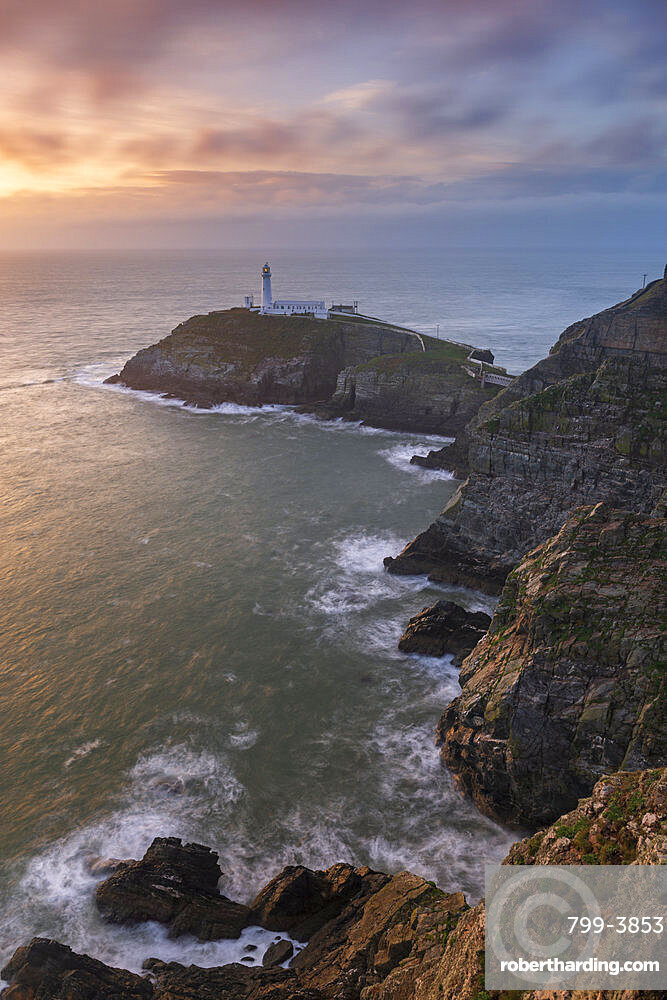 South Stack Lighthouse at sunset, Isle of Anglesey, North Wales, United Kingdom, Europe