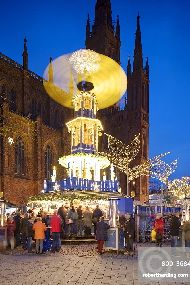 Christmas Market at dusk, Wiesbaden, Hesse, Germany