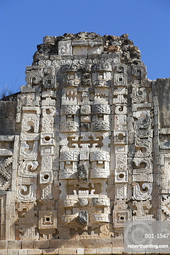 Chac Rain God masks, Nuns Quadrangle, Uxmal, Mayan archaeological site, UNESCO World Heritage Site, Yucatan, Mexico, North America