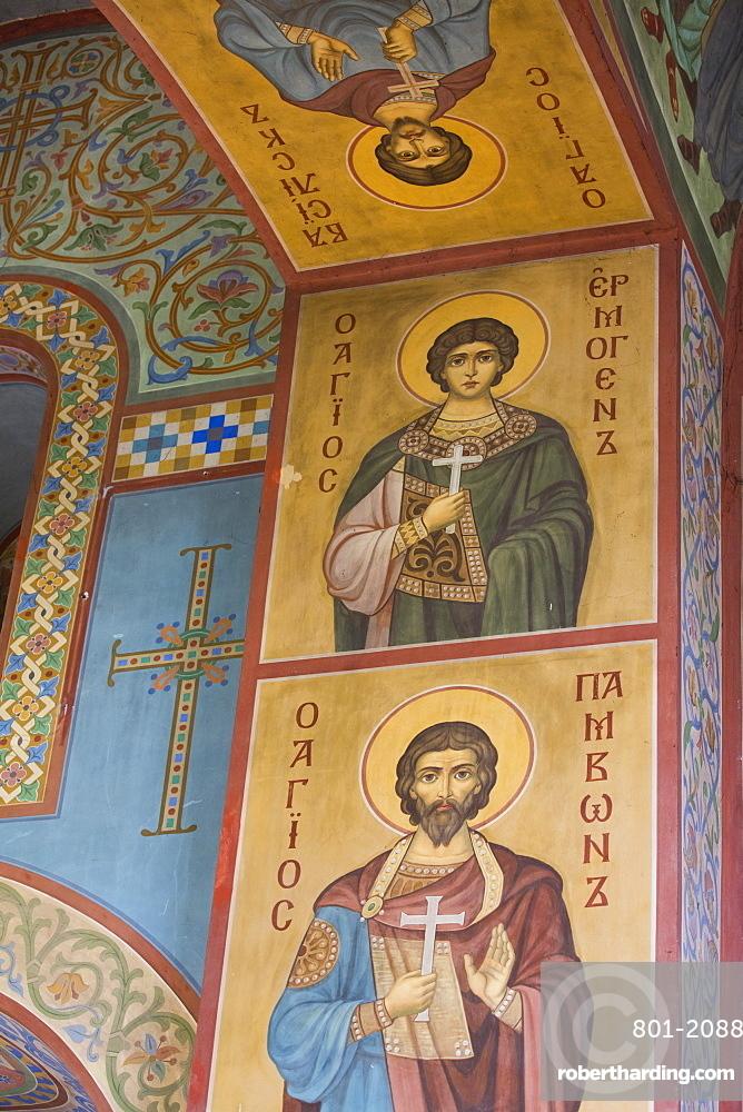Interior fresco paintings, St. Sophia Cathedral, Kremlin, UNESCO World Heritage Site, Veliky Novgorod, Novgorod Oblast, Russia, Europe