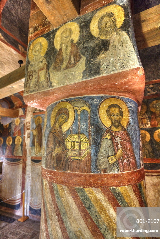 Frescoes, Cathedral of the Nativity, Zverin Monastery, UNESCO World Heritage Site, Veliky Novogrod, Novgorod Oblast, Russia, Europe