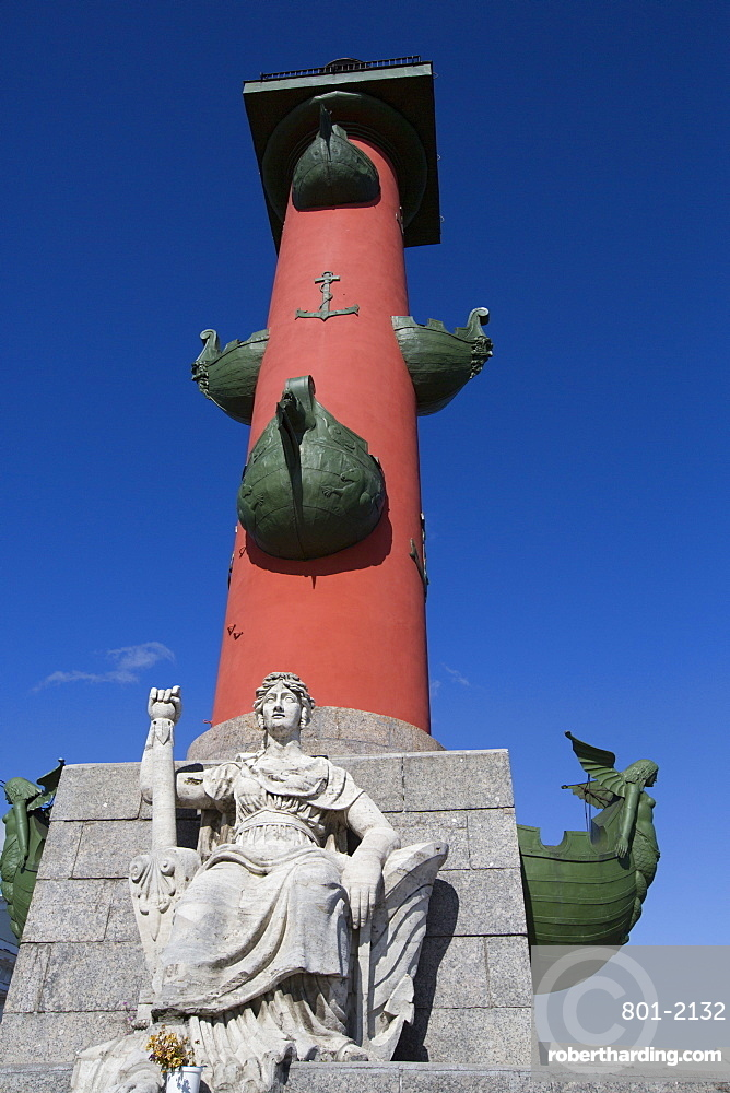 Marble Figure Represents the Neva River, Rostral Column, UNESCO World Heritage Site, St. Petersburg, Russia, Europe