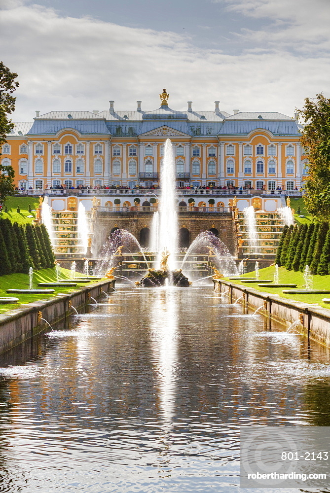 Samson Fountain, Great Palace, View from Sea Canal, Peterhof, UNESCO World Heritage Site, Russia