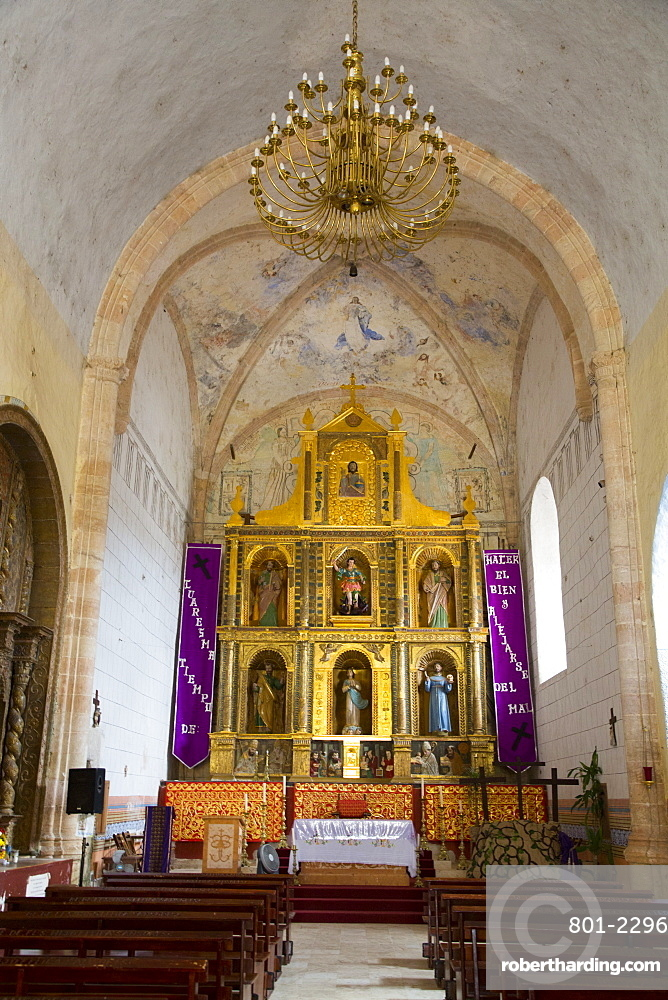 Altar with original Frescoes, Former Convent San Miguel Arcangel, founded 1541 AD, Route of the Convents, Mani, Yucatan, Mexico