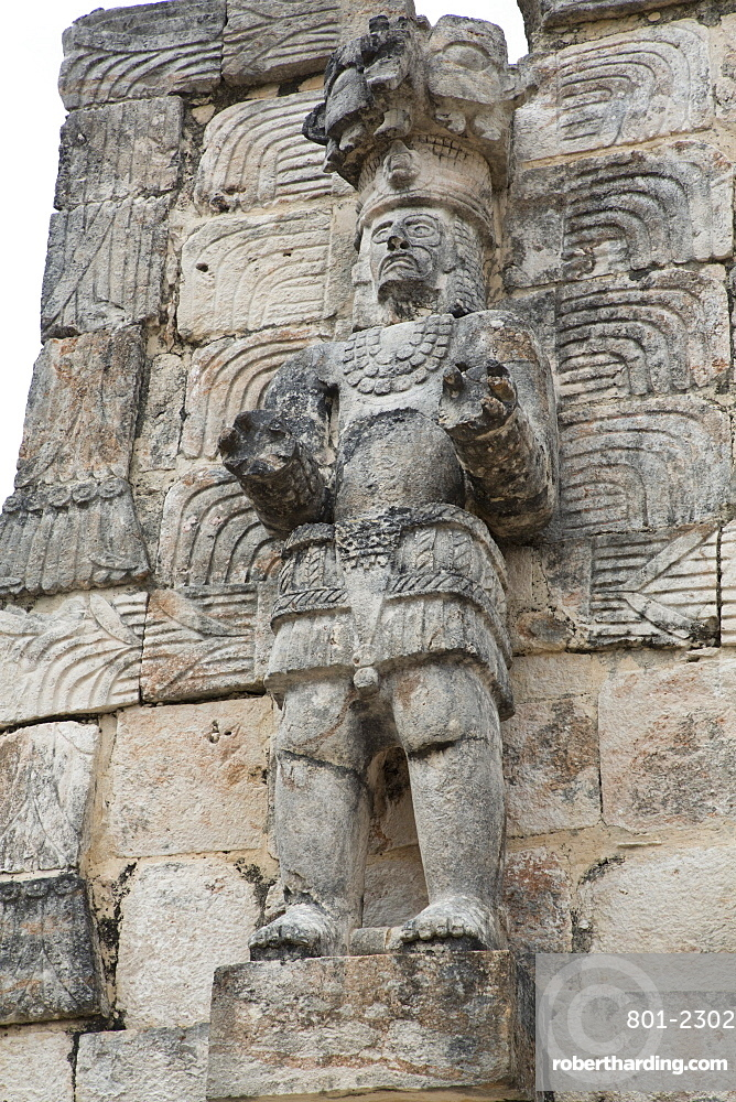 Stone Figure, Palace of the Masks (Codz Poop), Kabah Archaeological Site, Mayan Ruins, Puuc style, Yucatan, Mexico, North America