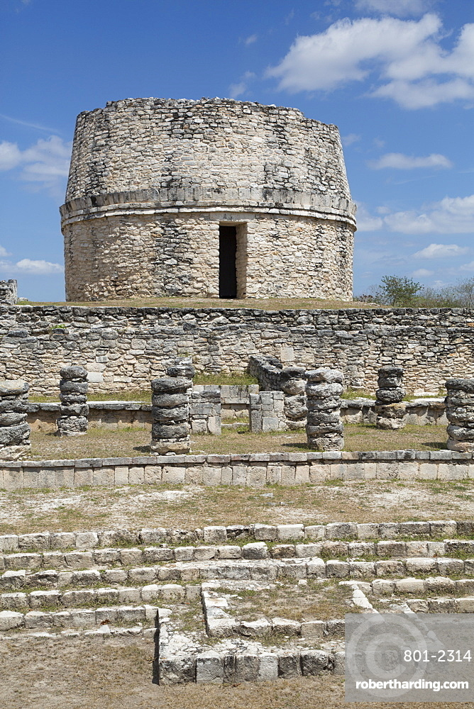 Chac Complex in the foreground, Observatory in the background, Mayan Ruins, Mayapan Archaeological Site, Yucatan, Mexico