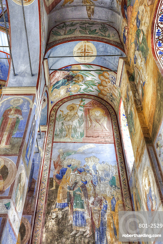 Frescoes, Church of the Nativity of the Virgin (1158), UNESCO World Heritage Site, north of Vladimir, Russia