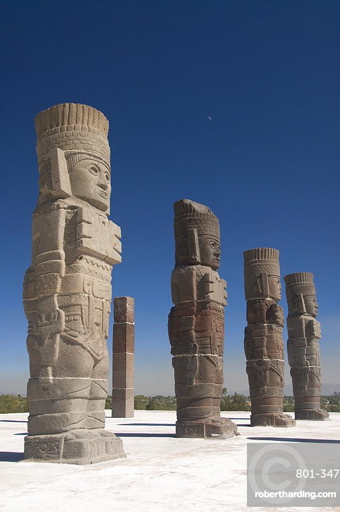Atlantes warrior statues, Temple of Quetzalcoatl, Tula, the probable capital of Toltec civilization, Archaeological Zone, Tula de Allende, Hidalgo, Mexico, North America