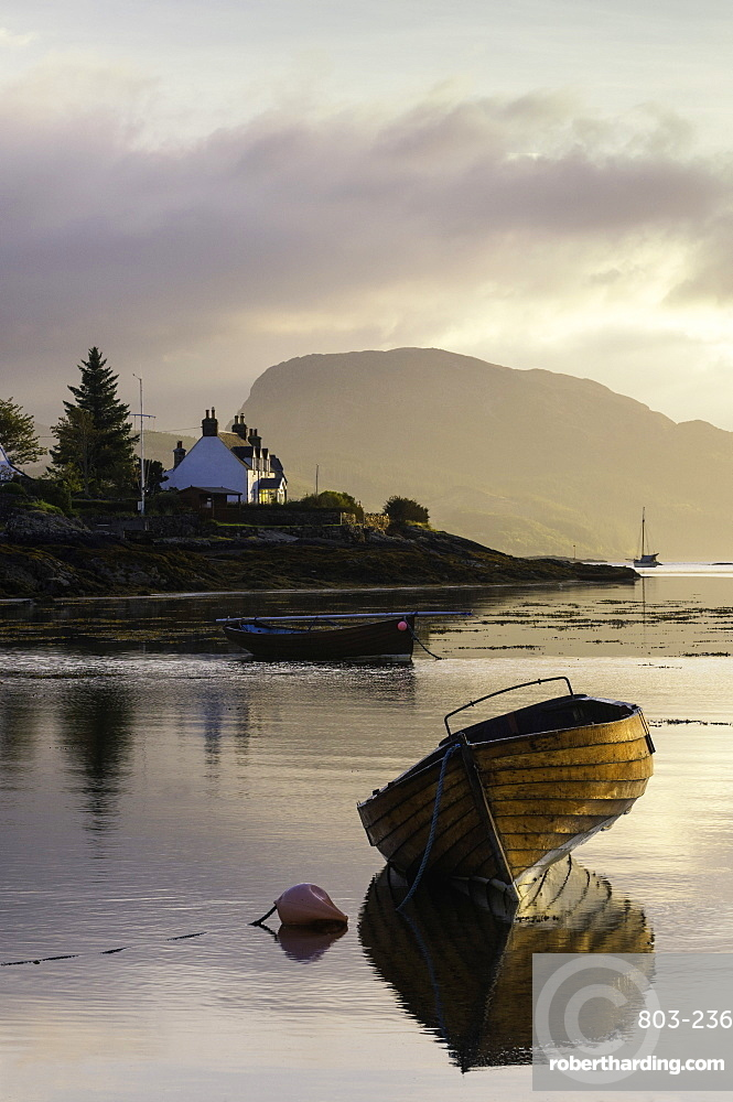 Dawn view of Plockton and Loch Carron near the Kyle of Lochalsh in the Scottish Highlands, Scotland, United Kingdom, Europe