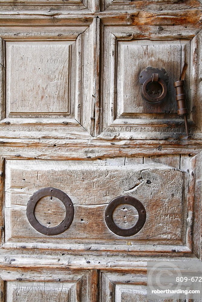 The door of the church of the Holy Sepulchre, Old City, Jerusalem, Israel, Middle East