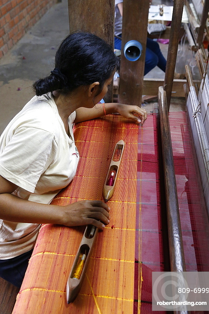 Les Artisans d'Angkor silk workshop, Cambodia, Indochina, Southeast Asia, Asia