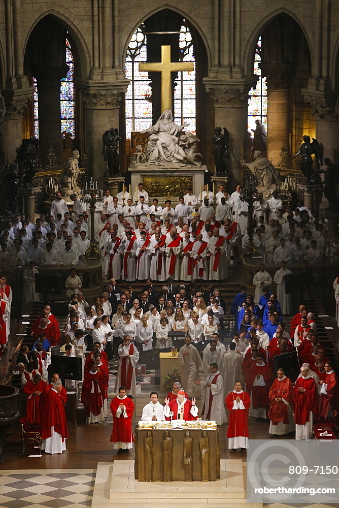 Priest ordinations at Notre-Dame de Paris cathedral. France.
