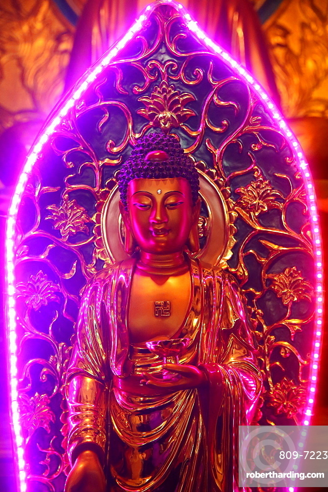 Buddha statue with neon light, Chua Thien Hung Buddhist Pagoda, Ho Chi Minh City, Vietnam, Indochina, Southeast Asia, Asia