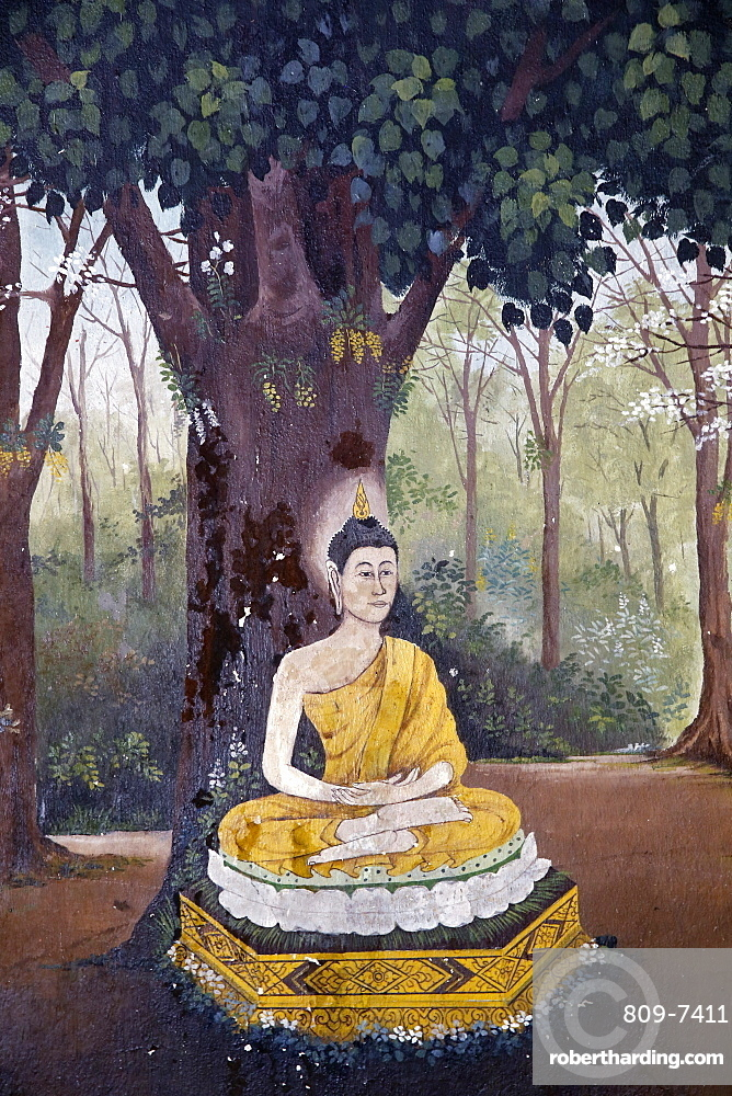 Fresco depicting Buddha meditating under a tree in a scene of the Buddha's life in Wat Phra Doi Suthep, Chiang Mai, Thailand, Southeast Asia, Asia