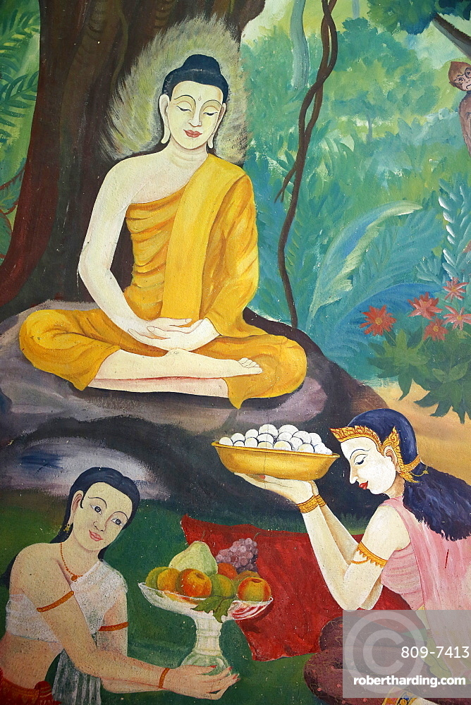 Fresco depicting food offerings to the Buddha in Wat Ampharam, Hua Hin, Thailand, Southeast Asia, Asia