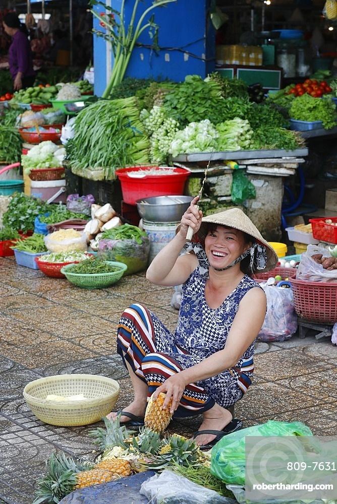 Traditional market vegetables shop, Ha Tien, Vietnam, Indochina, Southeast Asia, Asia