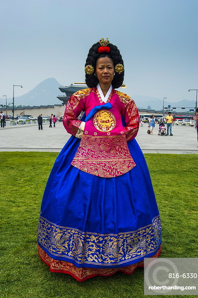 Traditional dressed woman with a special hair style, Gyeongbokgung palace, Seoul, South Korea, Asia
