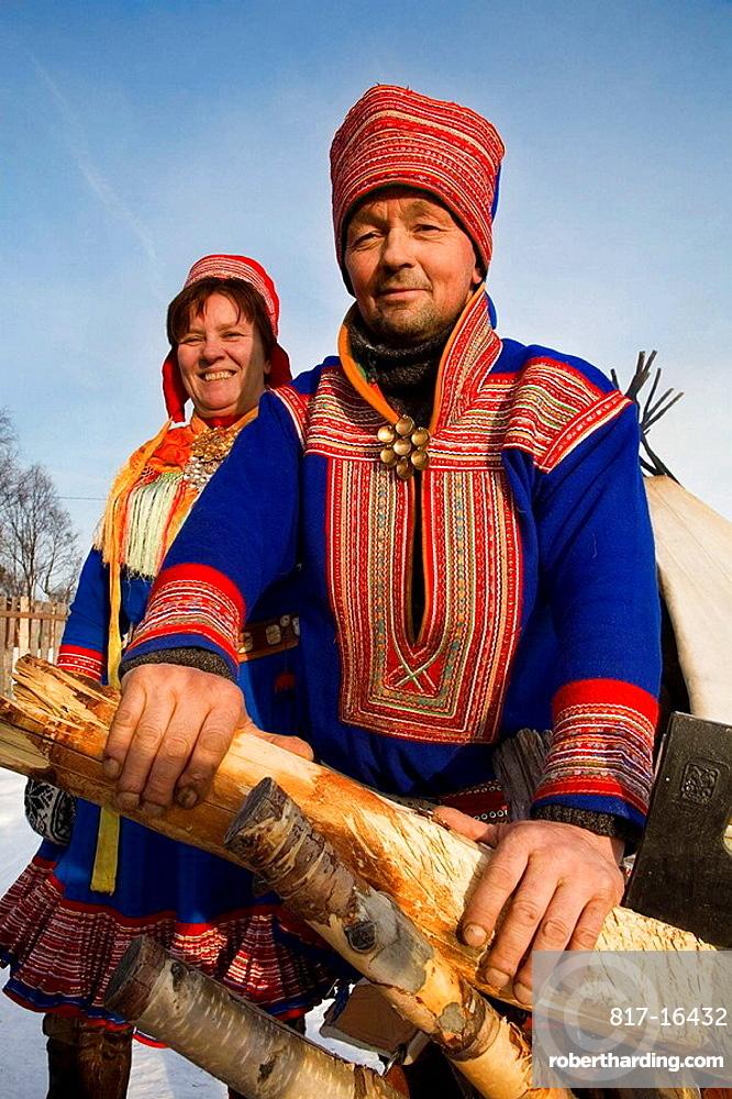 Sami (lapp) people, Sami experience in Boazo Sami Siida, Alta, Finnmark, Lapland, Norway.