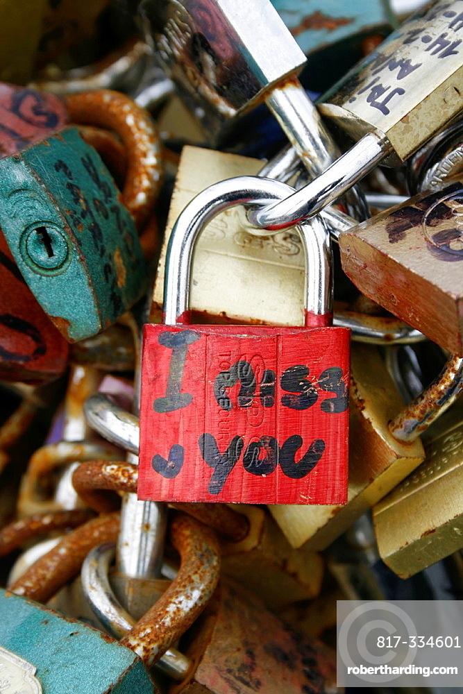 love locks on the milvio bridge in rome italy